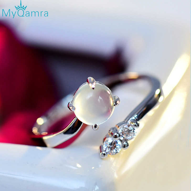 MYQAMRA s925 silver rings for women with Grape stone Wedding Rings Set Lover Wedding Jewelry Party Gift