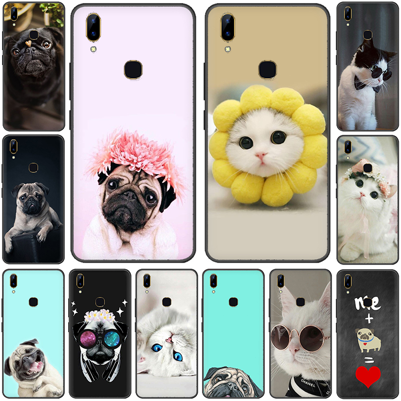 Pug Cute Cat with Glasses Pattern Phone <font><b>Case</b></font> for <font><b>VIVO</b></font> Y81 Y67 Y75 Y78 Y89 V11 V15 Pro Y17 <font><b>Y69</b></font> Y71 Y91 Y93 Y66 X9 Z5X Y11 image