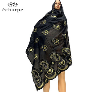 Image 5 - Latest African Women 100% Cotton Scarf Muslim Women Hijab Scarfs Big size Cotton Scarf for Shawls Pray shawls