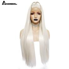 Anogol Platina Blonde Natuurlijke Haar Pruiken 613 Lange Zijdeachtige Rechte Synthetische Lace Front Pruik Voor Witte Vrouwen