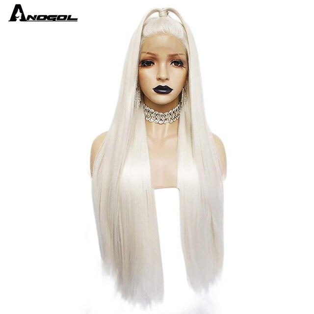 Anogol Platinumสีบลอนด์ธรรมชาติWigs 613ยาวSilkyตรงวิกผมลูกไม้ด้านหน้าด้านหน้าสำหรับผู้หญิงสีขาว