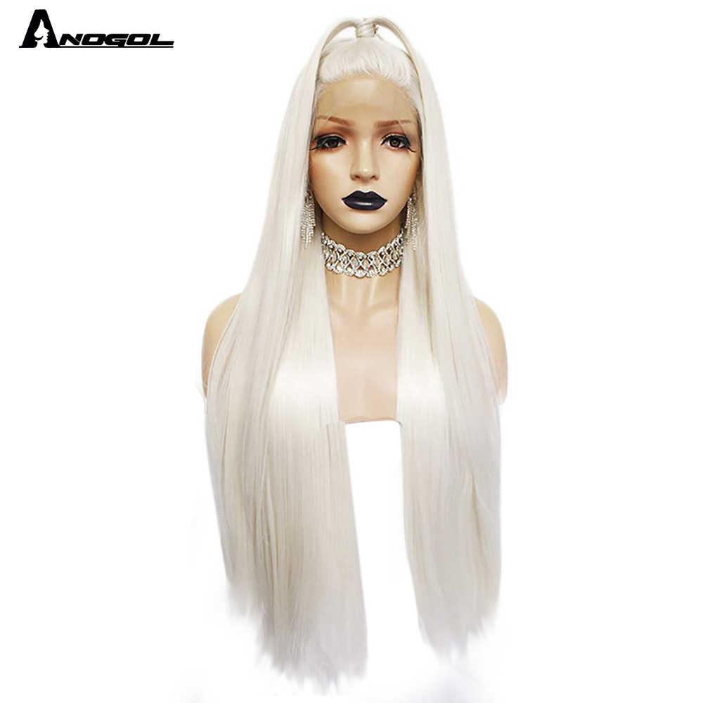 Anogol platynowy blond naturalne włosy peruki 613 długi jedwabisty prosto syntetyczna koronka peruka Front dla białych kobiet