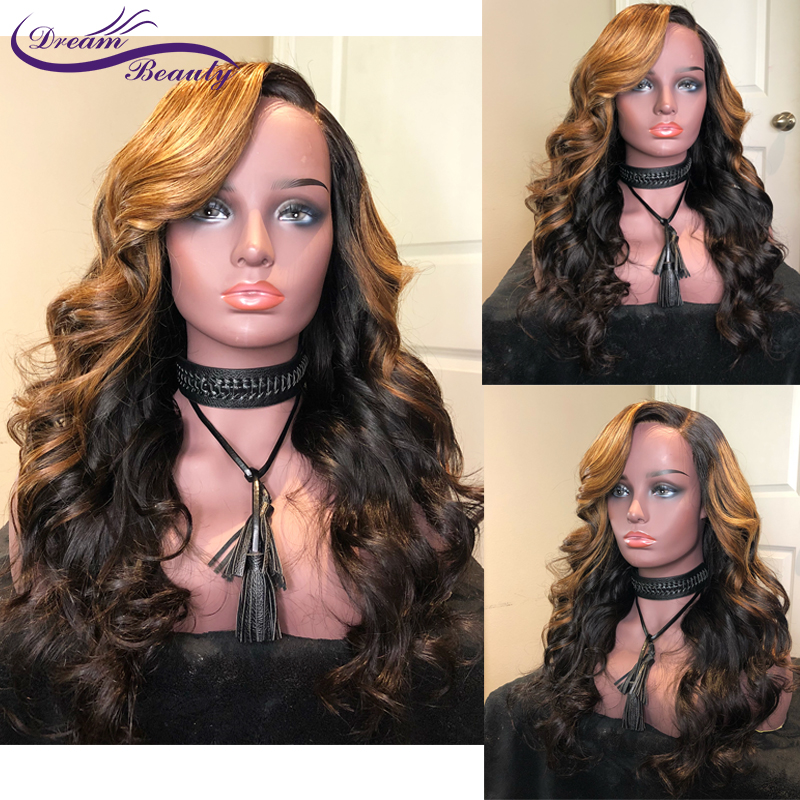 Ombre Blonde Lace Front Human Hair Wigs 13x6 Brazilian Wavy Lace Front Wig PrePlucked Colored Lace Remy Wigs Dream Beauty