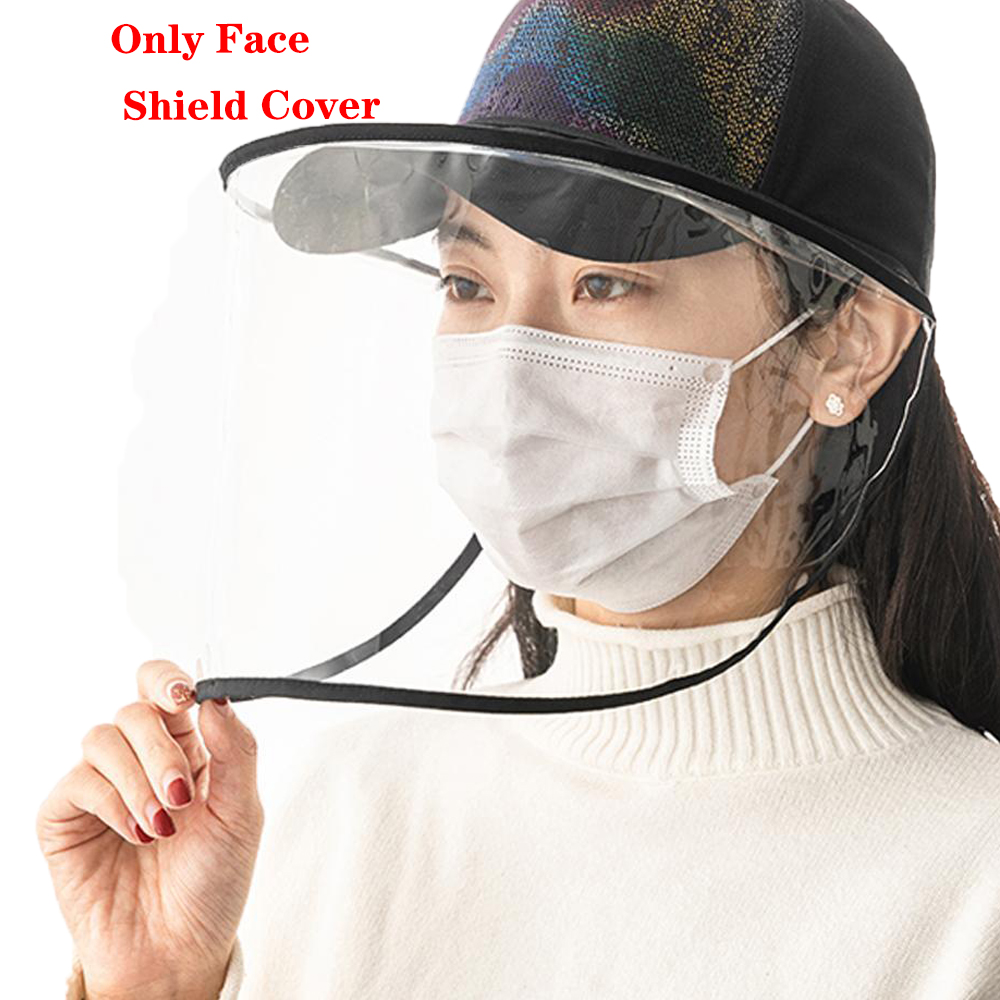 Dual-use Sun Hat Protective Face Shield Cover Hat Anti Spitting Saliva Drool Baseball Cap With Detachable Clear Facial Mask