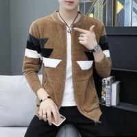 Men's Cardigan Sweater Teen Handsome Junior High School Student Zipper Jacket Autumn Winter Wear Men Clothes Sueter Hombre