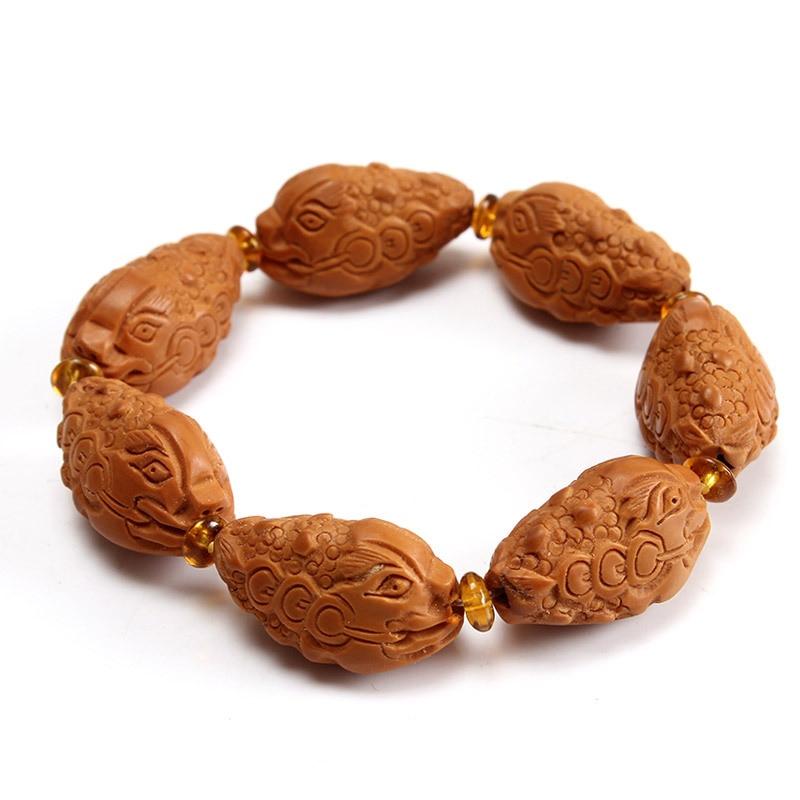 Fine coquille d'olive naturelle Bracelets sculpture à la main or crapaud main chaîne bricolage huile vieux nucléaire bois bénédiction Bracelets bijoux