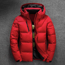 Winter Jacket Men Down Quality Thermal Thick Coat Snow Red Black Parka Male Warm Outwear Fashion White Duck Jackets Down Man 3XL cheap Thick (Winter) REGULAR Casual zipper Full Solid Broadcloth Hat Detachable Pockets Zippers Polyester Short White duck down