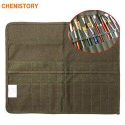 O saco de escova de pintura da lona moderna rola para o artista desenha a pena escova de óleo da aguarela do exército verde artes escolares suprimentos 41x33 cm