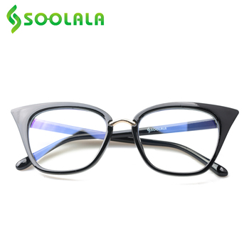 SOOLALA Anti Blue Light Cat Eye Reading Glasses Oversized Women Reading Glasses Colorful Presbyopia Sun Reading Glasses 0.5 0.75 reading