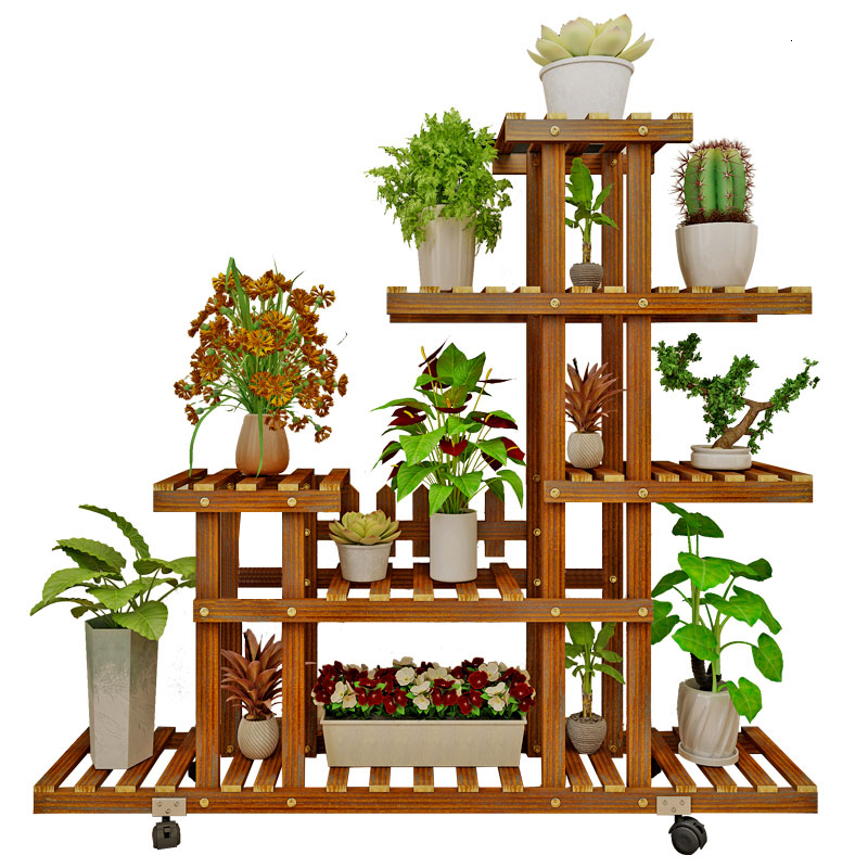 Household Solid Wood Quality Flower Airs Multi-storey Indoor Balcony Ground Flowerpot Rack