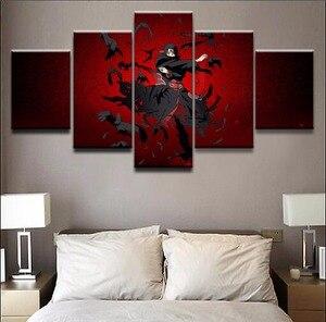 5 Panel Itachi Uchiha Naruto Framework Canvas Painting Wall Art Abstract Decor Modular Pictures Bedroom Prints obrazy plakat(China)