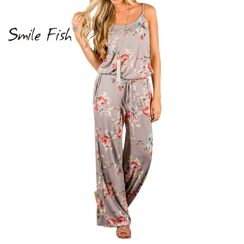 Women Super Comfortable Floral <font><b>Jumpsuit</b></font> Sling Print Loose Piece Trousers <font><b>Kawaii</b></font> Casual Wide Leg Pants <font><b>Jumpsuits</b></font> Overalls GV736 image