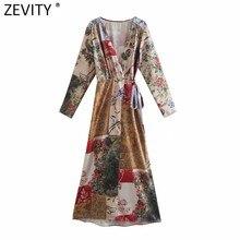 Zevity – robe Kimono mi-longue pour femmes, Vintage, col en V croisé, tissu imprimé Patchwork, Chic, Slim, DS8115, 2021