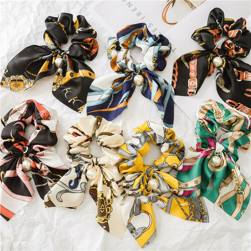Floral Print Scrunchies Ribbon Tail Hair Bands Elastic Hair Rope Fabric Bow Ties Ponytail Holder For Women Girls Gift