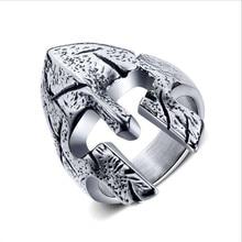 Men Jewelry Tungsten steel ring Spartan warrior helmet Rings so127