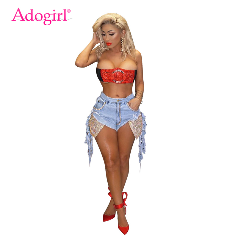 Adogirl Sequins Pockets Diamonds   Jeans   Shorts Size Holes Tassel Washed Denim Shorts Women Fashion Sexy Trousers Club Pants