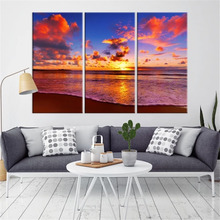 Sunset with the Clouds on Sea Canvas Print Wall Decor Canvas Painting 3 Piece Wall Pictures for Living Room Home Decoration