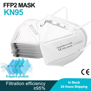 50 PCS FFP2 Mask KN95 Reusable Mouth Mask Filter 5 Layer Dustproof Anti-droplet Masque de protection Adult kn 95 face masks fpp2