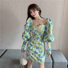 Модное Новое Стильное платье с рукавами пузырьками украшенное