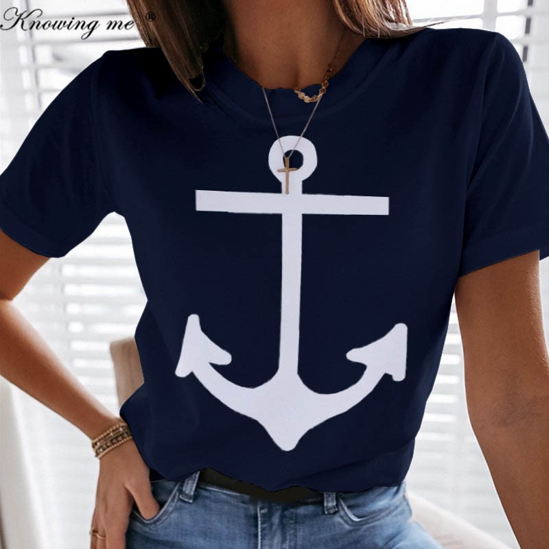 Women Letters Boat Anchor Print Blouse shirts Lady 2020 Summer sexy of
