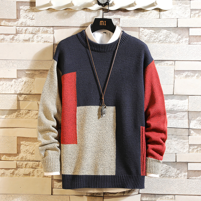 High Quality Men'S Knitted Sweater Autumn Winter Brand Patchwork Pullovers Knitwear 2019  Oversize