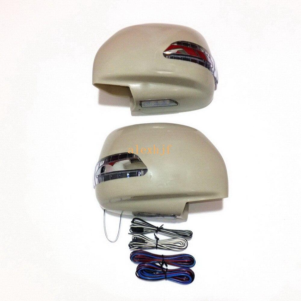 Светодиодный зеркальный фонарь заднего вида + крышка, указатели поворота + ДХО + чехол для заземления для Toyota Land Cruiser Cygnus и Lexus LX470 1998 06