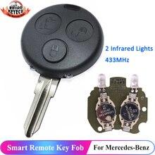 KEYECU – clé télécommande intelligente à 3 boutons, 433MHz, pour voiture connectée ForTwo Passion Pulse City Roadster avec 2 lumières infrarouges