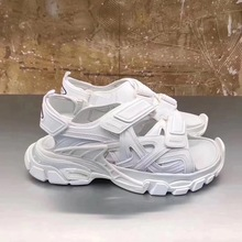 Modne letnie buty męskie sandały gladiatorki damskie sandały z wystającym palcem platformy plażowe sandały czarne białe sandały z prawdziwej skóry tanie tanio vannogg Skóra bydlęca Kożuch Rzym RUBBER Hook loop Mieszkanie (≤1cm) Pasuje prawda na wymiar weź swój normalny rozmiar