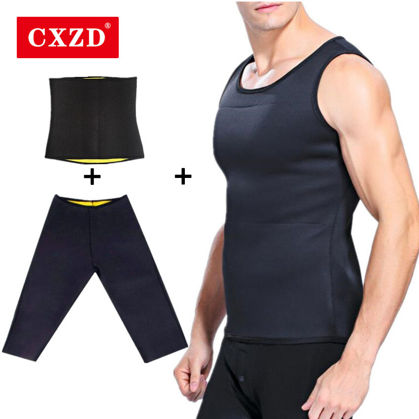 CXZD New Body Shapers Pants Men Slimming <font><b>Shirt</b></font> <font><b>Neoprene</b></font> Shapers Vest Sweat Sauna Shapewear Fitness <font><b>T</b></font>-<font><b>Shirt</b></font> Pants Control Shorts image