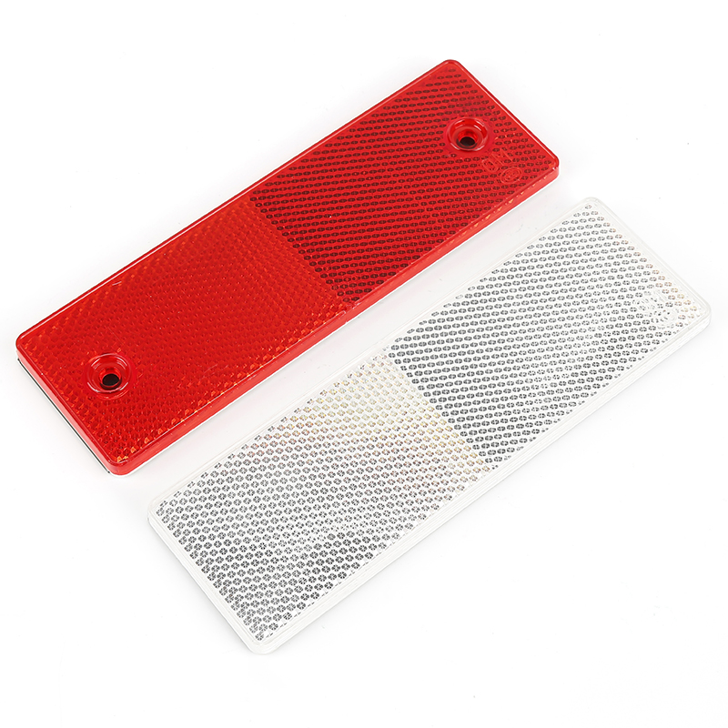 1PCS Truck Motorcycle Adhesive Rectangle Plastic Reflector Reflective Warning Plate Auto Car Stickers Safety Sign Red/White