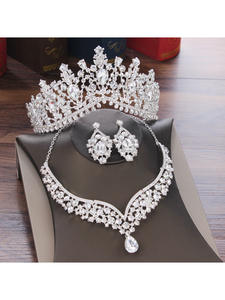 Jewelry-Sets Necklace Earrings Tiaras Crystal Crown Rhinestone Bride Wedding-Dubai Water-Drop-Bridal