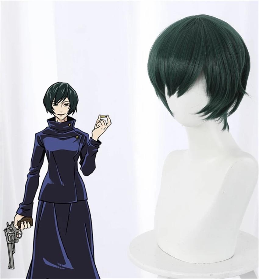 30CM/11,81 in Anime Jujutsu Kaisen Zenin Mai Cosplay Perücke Grün Bobo Kurze Haare Frau Halloween-Party Requisiten