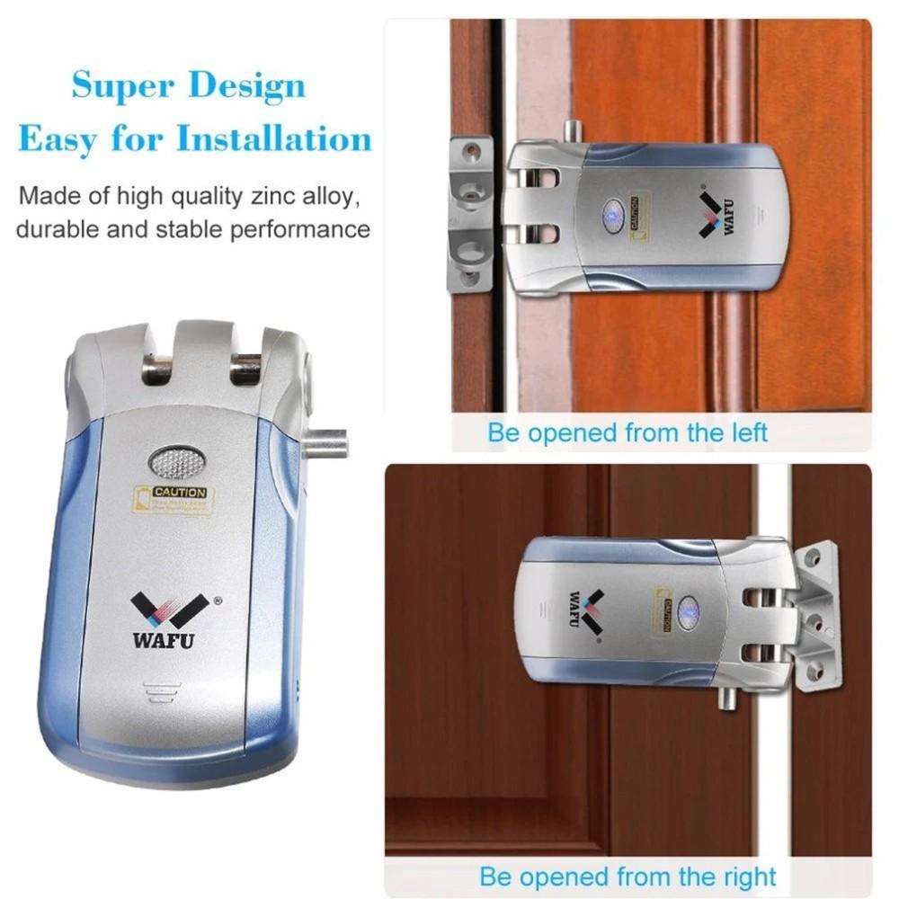 Wafu WF-019Electric cerradura de puerta Control inalámbrico con Control remoto abrir y cerrar cerradura inteligente puerta de seguridad de Casa alarma incorporada - 3