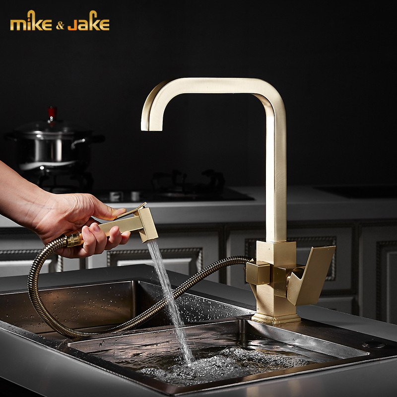 Square Brush Gold Kitchen Faucet Pull Out Brass Sink Mixer Hot And Cold Gold Brush Kitchen Mixer Water Tap