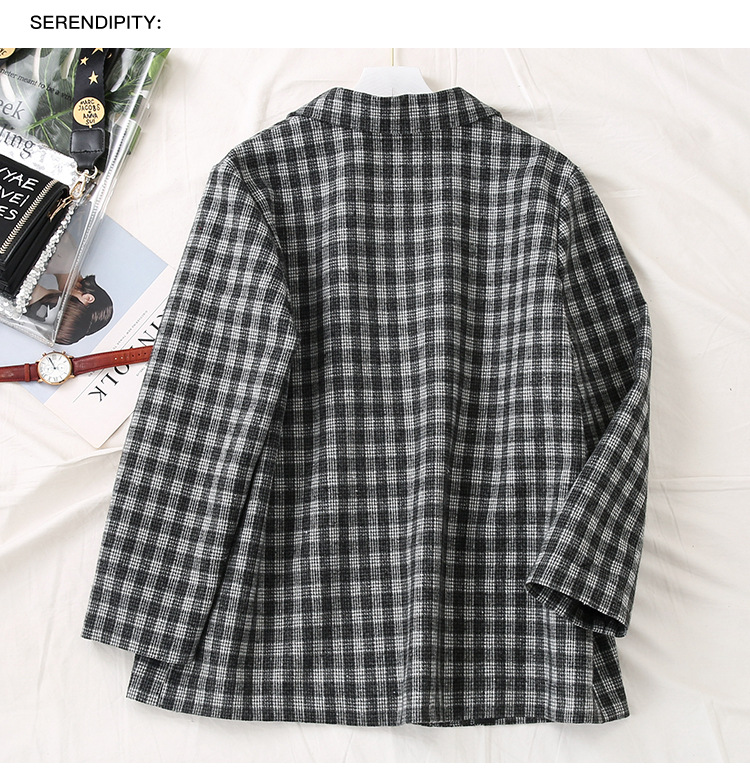 2020 new spring and autumn loose plus size ladies jacket Casual Check Women's Blazer Fashion small suit Feminine coat