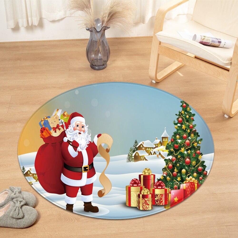 Christmas Pattern Round Carpet  Living Room Decoration Rug Computer Chair Cushion 3D Kids Room Carpet Bedroom Floor Bedside Mat