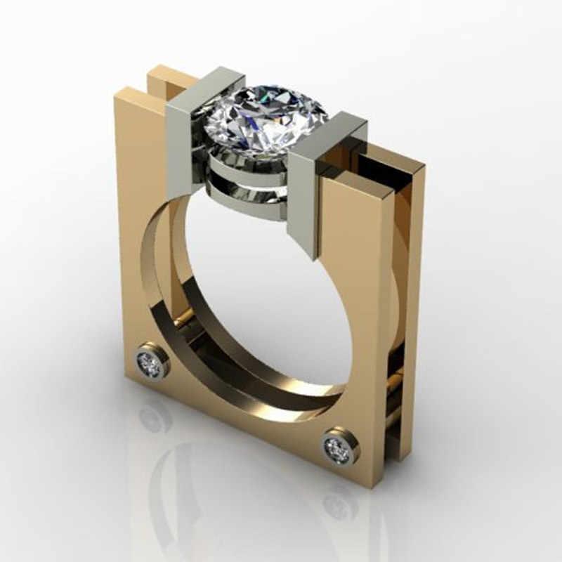 Feminino pequeno anel de pedra de zircão branco bonito cor de ouro amarelo 925 prata festa casamento promessa anéis de noivado para mulher