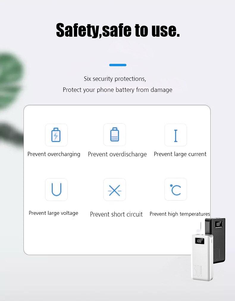 Внешний аккумулятор 30000 мА/ч, внешний аккумулятор, 2 USB, светодиодный, PoverBank, type-c, портативное зарядное устройство для телефона OnePlus Xiaomi