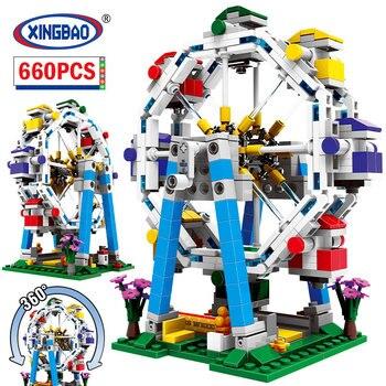 XINGBAO ciudad Parque de Atracciones rueda de barco pirata de bloques de construcción amigo ladrillos MOC juguetes educativos para los niños regalos