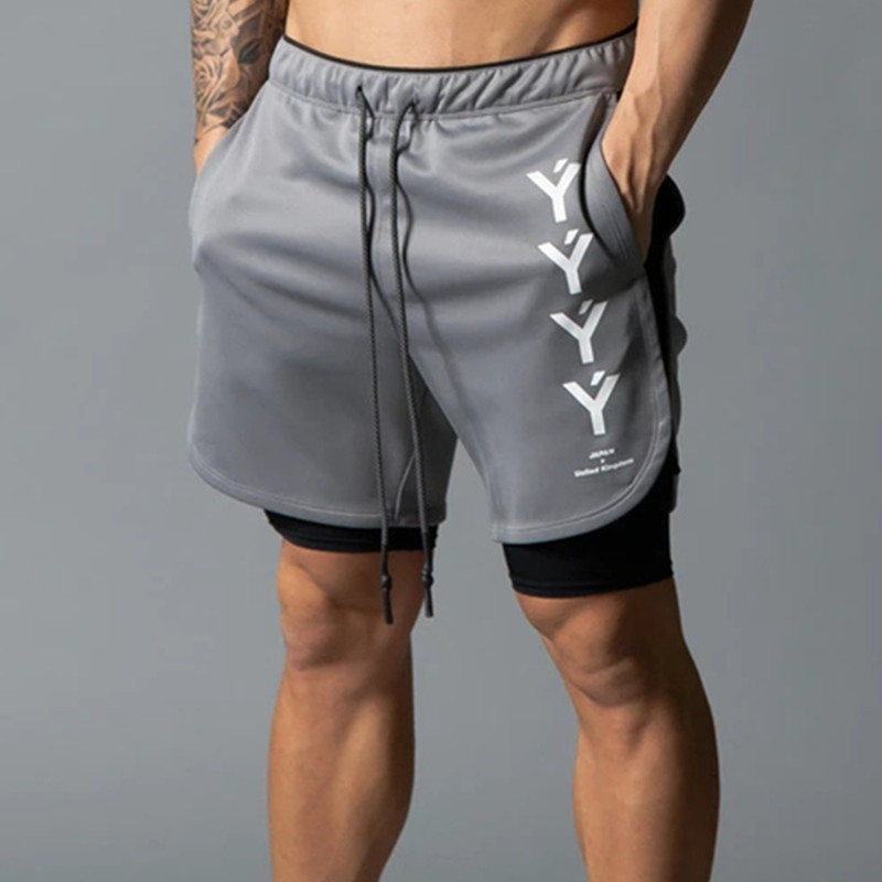 2020 New Men 2 In 1 Running Shorts Jogging Gym Fitness Training Quick Dry Beach Short Pants Male Summer Sports Workout Bottoms
