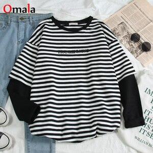 Korean Women shirts letters stripe Kawaii tops O-Neck All-match Students t-shirts autumn Harajuku Loose Clothing Casual T shirt(China)