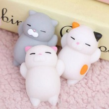 1Pcs 5CM Lovely Cartoon Cat Squishy Toy Anti-stress Soft Mini Animal Squeeze Stress-Relief Decompression Healing Gift