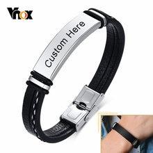 Vnox-Pulseras de cuero negro personalizadas para hombres y mujeres, pulsera de cuero en capas con brazalete de acero inoxidable, informal, 12mm