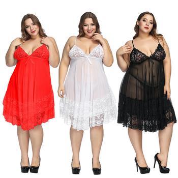 7XL Plus Size Women Nightdress Sexy Nightwear Babydoll Lace Large Nightgown Set Sleepwear Dress Sexy Nightwar Sleep & Lounge