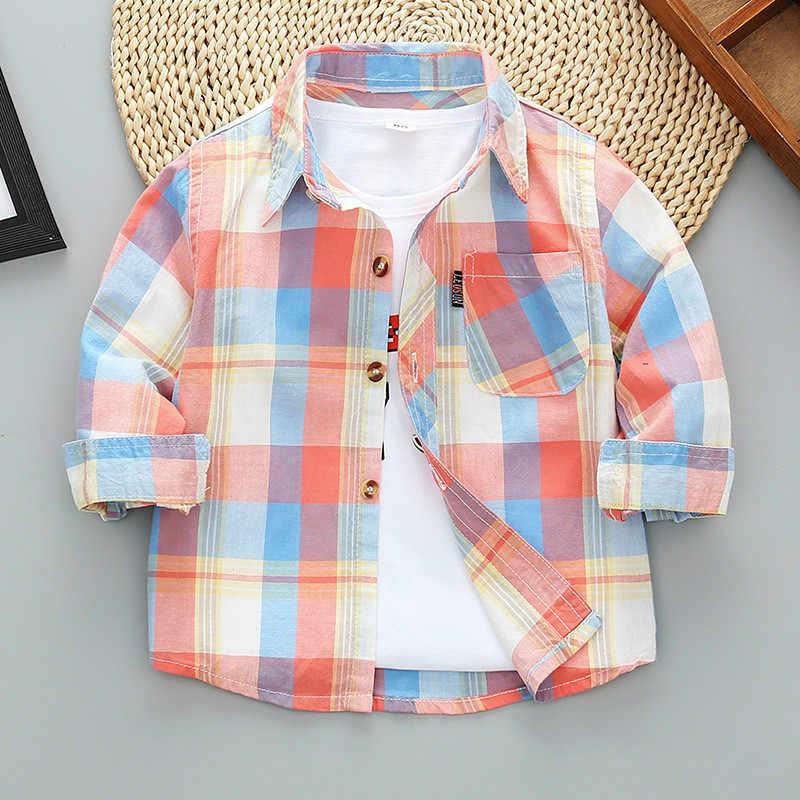 2020 Nieuwe Peuter Jongens Shirts Lange Mouwen Plaid Shirt Voor Kinderen Lente Herfst Kinderen Kleding Casual Katoenen Shirts Tops 24M-9Y
