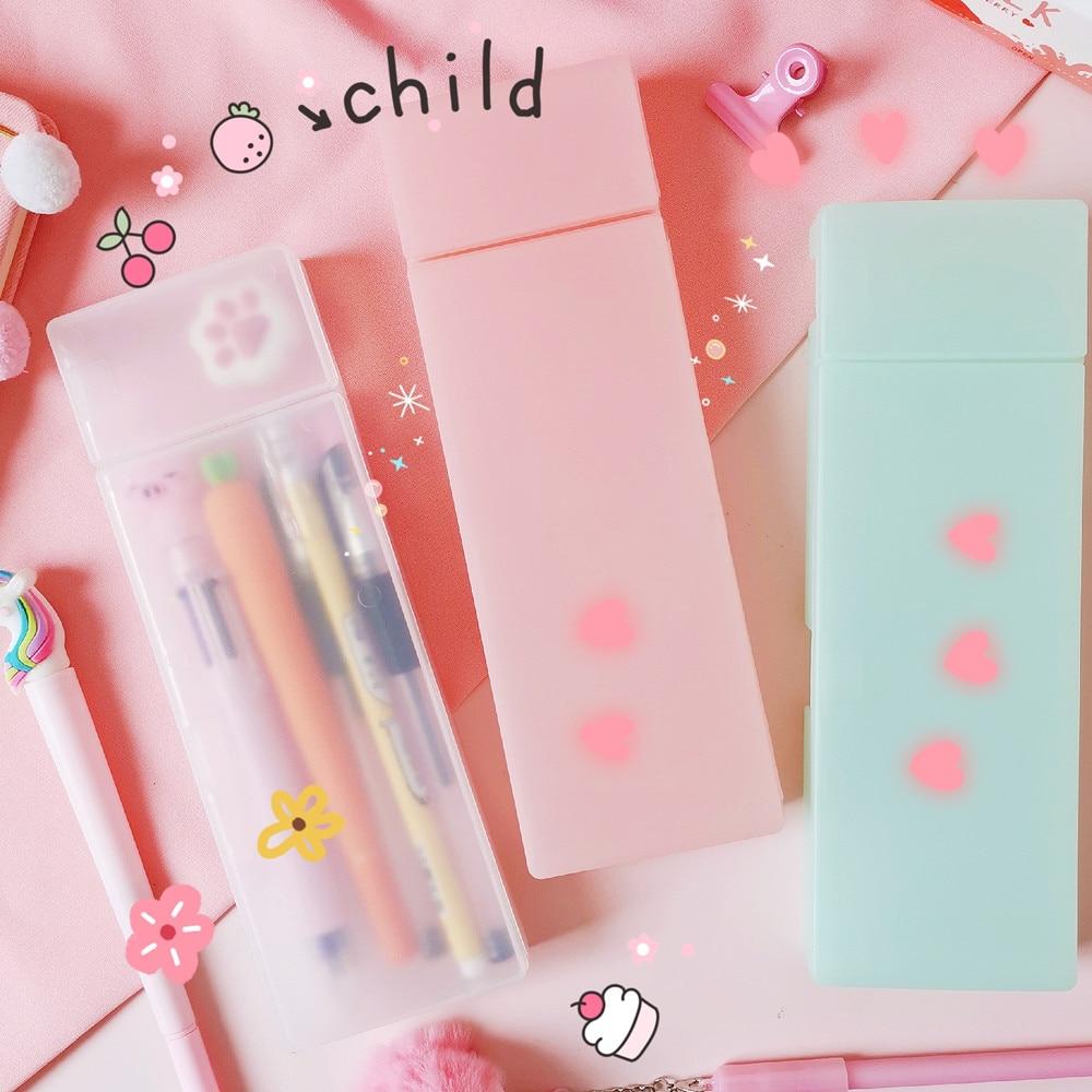 Cute Transparent Pencil Case Bag Large Capacity Box Pen holder School Supplies Stationery Kawaii