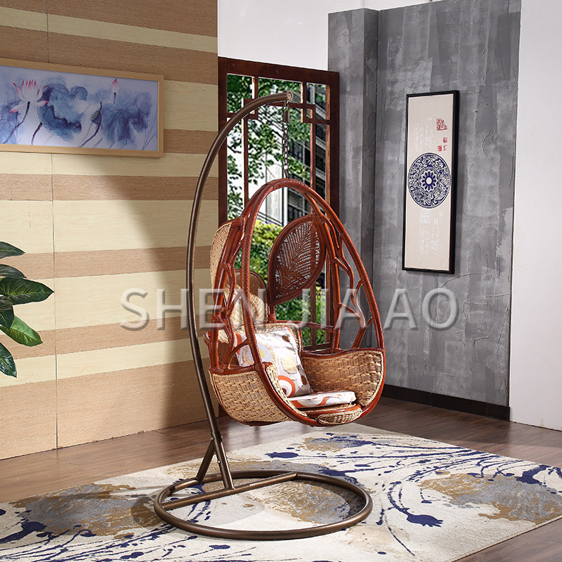 Southeast Asian Real Rattan Hanging Chair Basket Indoor Outdoor Balcony Swing Chair Single Rocking Chair Hanging Rattan Chair