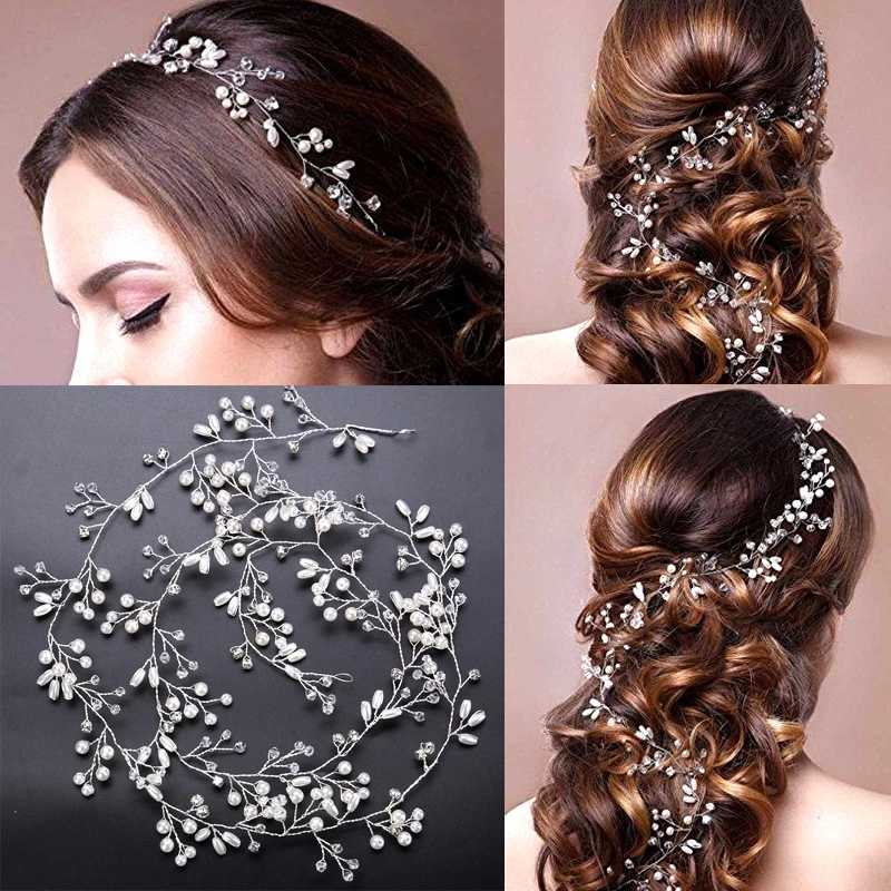 2019 Crystal Wedding Hair Accessories Headband Simulated Pearl Bridal Vine Hairbands Crown Headpiece Bride Women's Jewelry