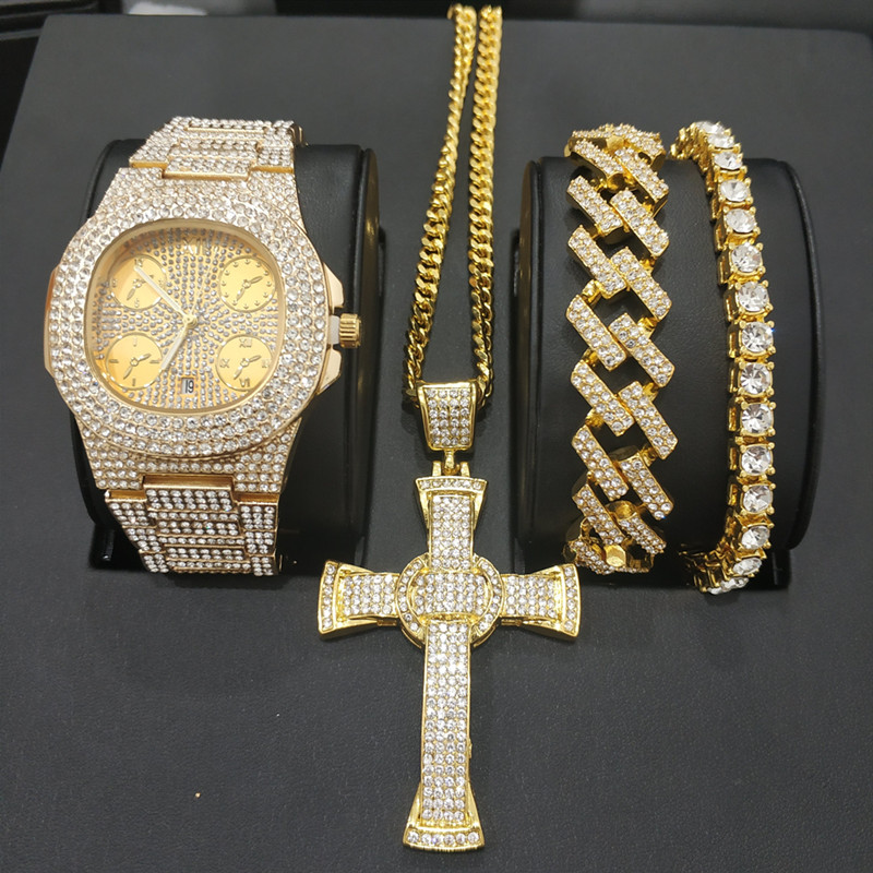 Montre hommes hip hop diamant croix bijoux montre & collier & bracelet ensemble combiné montre diamant cubain glace out pendentif collier ensemble