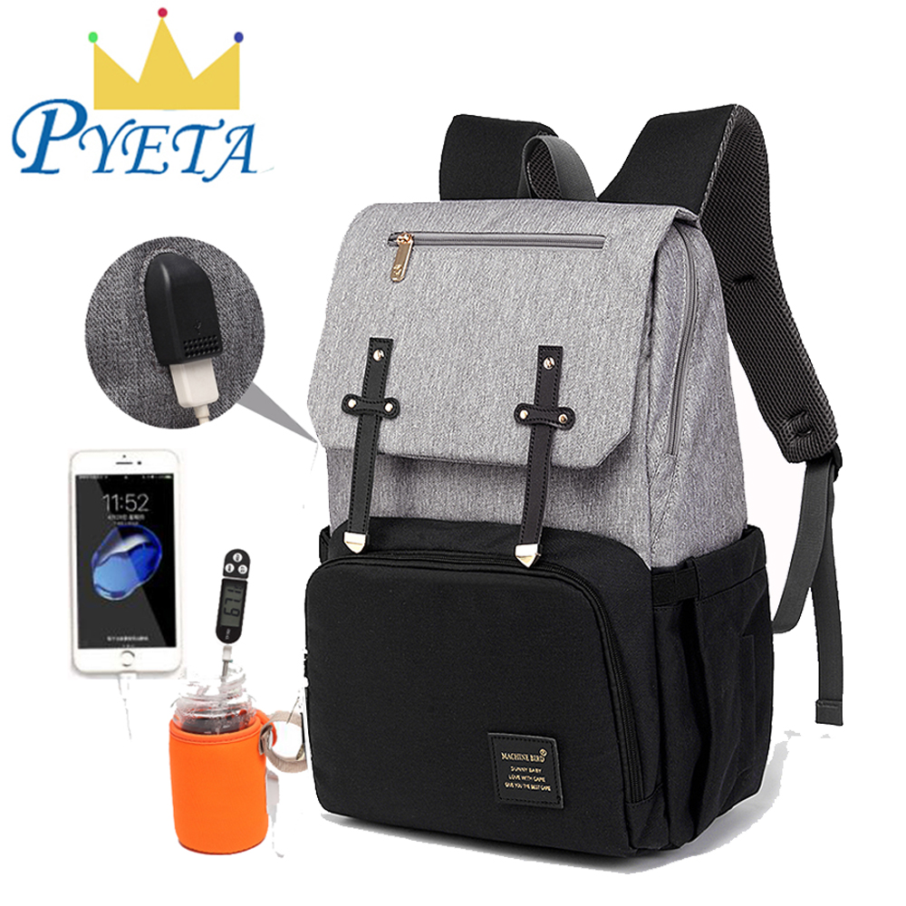 PYETA Baby Diaper Bag With USB Port Waterproof Nappy Bag Mommy Backpack Laptop Bag Maternity Bag With Rechargeable Bottle Warmer